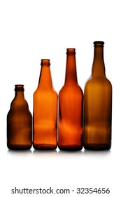 Various bottles isolated over the white background