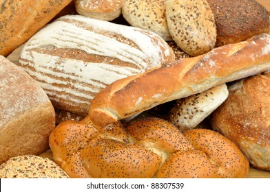 Various bread loaves and baguettes