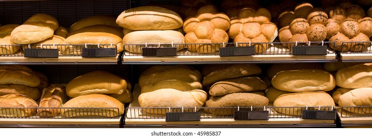 Various bread type on shelf. Bakery shop concept
