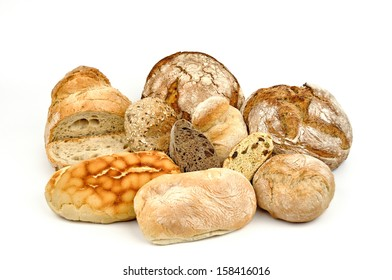 Various breads isolated on white background.