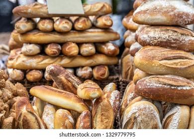Various breads on the Mahane Yehuda Market in Jerusalem.