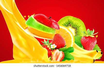 various brilliant fruits to make juice