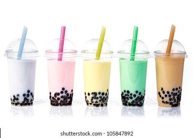 Various Bubble Tea in a row isolated on white background.