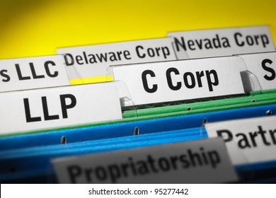 Various business organization types highlighted, LLP, C corporation