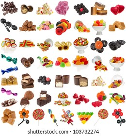 Various Candies Collection isolated on white background