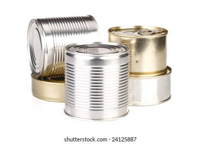 Various cans on a white background. No label.
