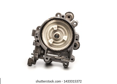 Various car parts and accessories, isolated on white background gearbox