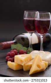 Various cheese recipes and red wine