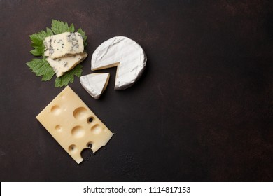 Various cheese for white wine. Top view with space for your text