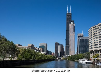 Various Chicago skyscrapers including the Willis Tower (formerly Sears Tower).
