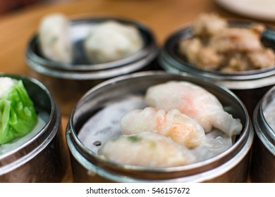 Various chinese dim sum in plate