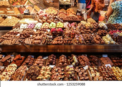 Various Chocolate Desserts For Sale At A Shop In The La Boqueria Market.  Barcelona,