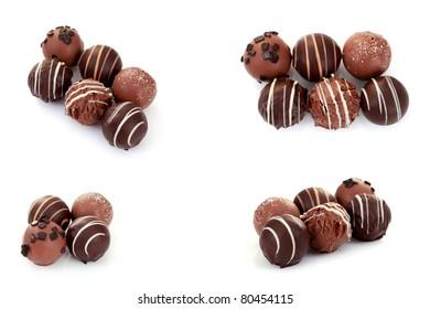 various chocolates on white background - sweet food