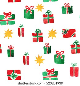 Various Christmas presents in red and green colors. Seamless pattern. Watercolor illustration.