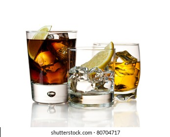 Various cocktails and drinks on white