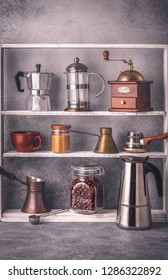 Various coffee making tools and accessories on the shelves