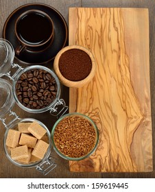 Various coffee on a brown background
