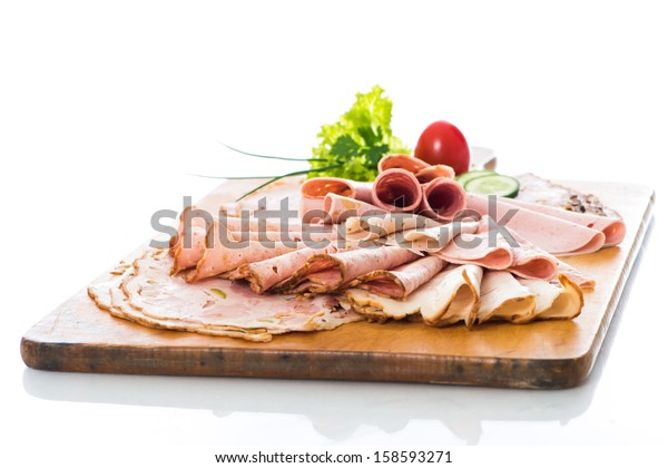 Various cold cuts on a plate