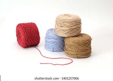 various color kintting yarn balls on white backgroud  for crafter