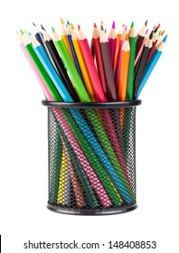 Various color pencils in black office cup isolated on white background