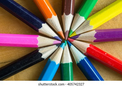Various color pencils on the table