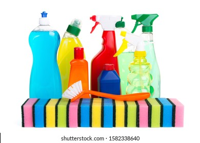 various colored cleaning agents with withe background