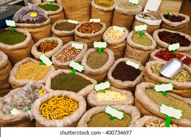 Various colored spices on the Mahane Yehuda Market in Jerusalem.