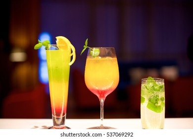 Various Colorful Cocktails in the bar restaurant