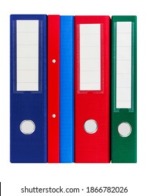 Various colorful file folders isolated against white background