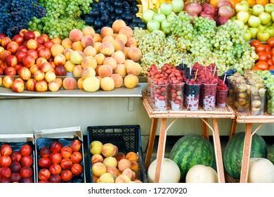 Various colorful fruits at market