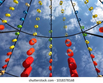 Various colorful lights decorate with blue sky  background.