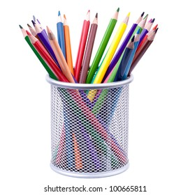 Various colorful pencils in silver holder isolated on white