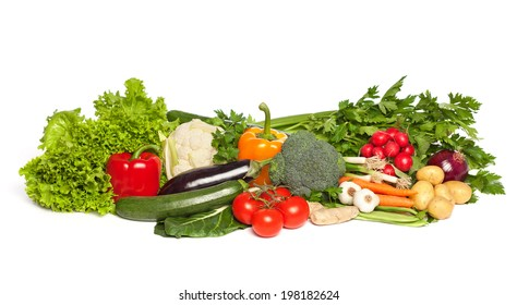 Various colorful raw vegetables, isolated on white