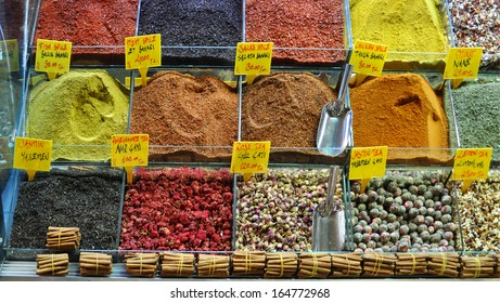 Various colorful spices and condiments in the spice market from Istanbul, Turkey.
