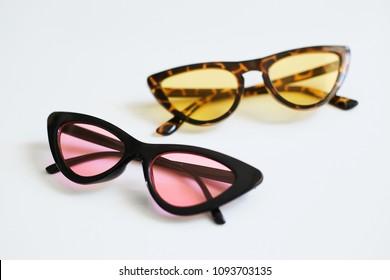 Various colorful stylish fashionable sunglasses, cat's eyes, isolated on white background