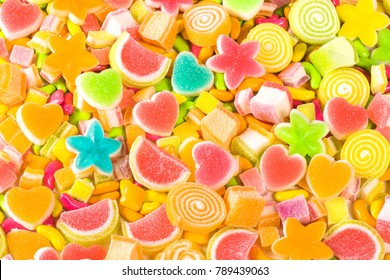 Various colorful sugar candy background, Multicolor sweet meat for party kids