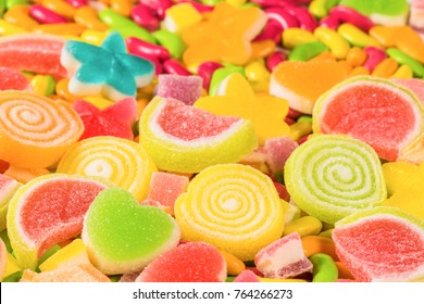 Various colorful sugary candy background