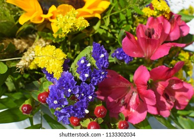 Various colorful summer flowers in a bouquet