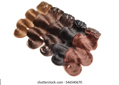 Various colors of clip in body wave human hair extensions