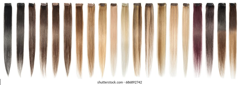 Various colors of straight single clip in human hair extensions