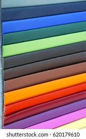 Various colour leather material samples