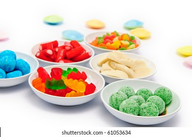 Various Colourful Sweets on a white background