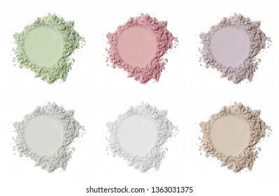 Various cosmetic powder isolated on white background
