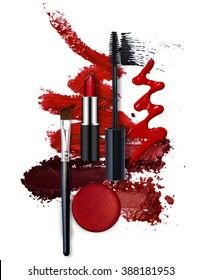 various cosmetic red fashion theme