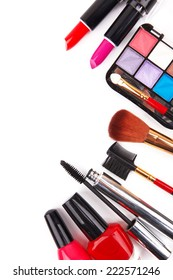 Various cosmetics isolated on a white background