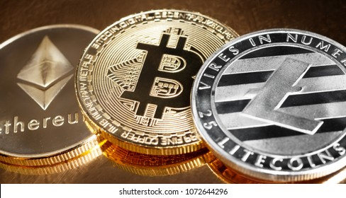 Various cryptocurrencies next to each other