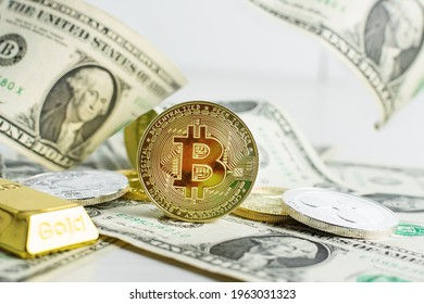 Various cryptocurrency coins with dollar banknotes and bitcoin in the centre. Cryptocurrency, virtual money. Stock market concept.