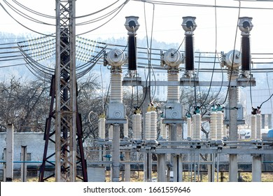 Various devices for storage, transportation and distribution of electricity are located on the territory of the power substation.