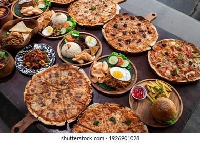 Various different foods on the table