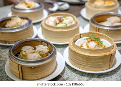 Various Dimsum in the stream basket on the table